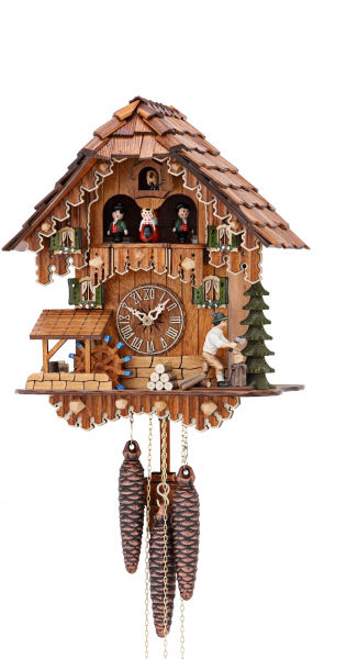 Cuckoo Clock Black Forest house with moving wood chopper and mill ...