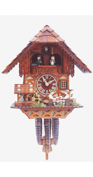 Cuckoo Clock Black Forest house with moving beer drinker and mill ...