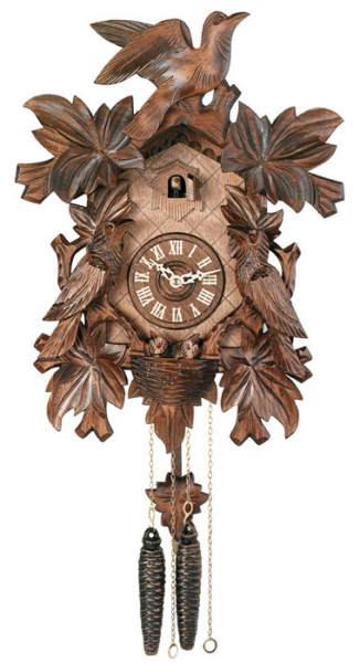 One Day Hand-Carved Cuckoo Clock with Seven Maple Leaves, Three Birds ...