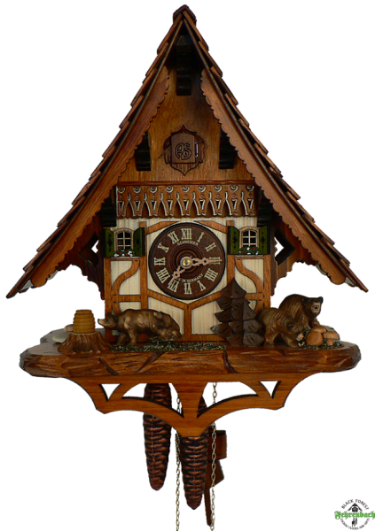 Home Cuckoo Clock - 1-Day Chalet with Bear & Cubs - Schneider