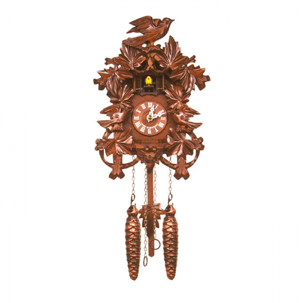 Black Forest German Cuckoo Clock with Oak Leaves and Bird—Buy Now!