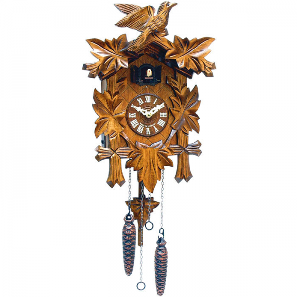 Black Forest German Cuckoo Clock with Leaves and Small Bird—Buy Now!