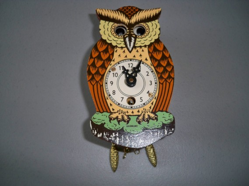 Vintage German Novelty Owl Clock With Moving Eyes - This item is ...