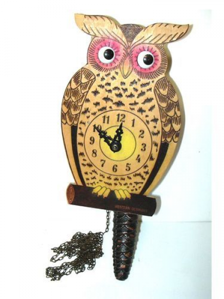 Vintage West German Owl Wall Clock With Moving Eyes