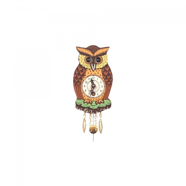 German Cuckoo Clock Owl with Moving Eyes Small Home
