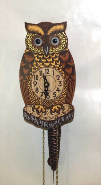 German made small little mechanical clock swinging pendulum owl moving ...