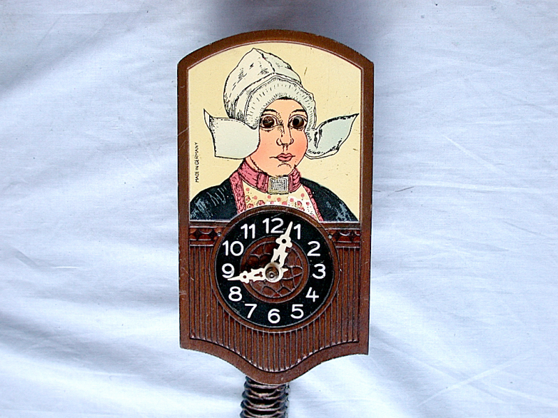 ... Antique German Kuner Pendulum Novelty Clock Duch Girl With Moving Eyes