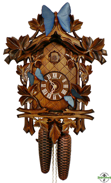 Cuckoo Clock - 8-Day Traditional with Moving Butterflies - Schneider