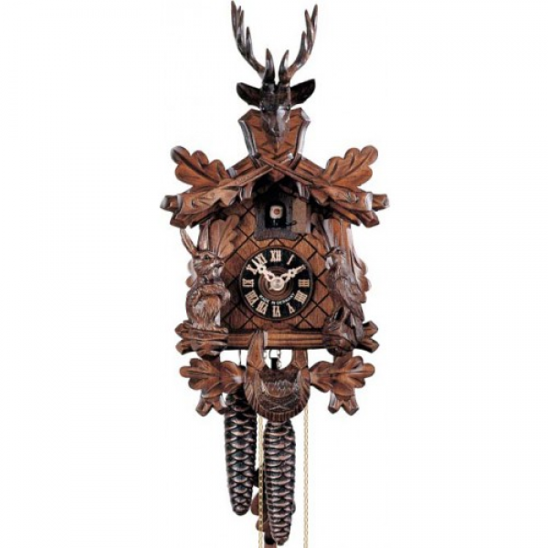 Day Traditional Hunting Carved- German Black Forest Cuckoo Clock