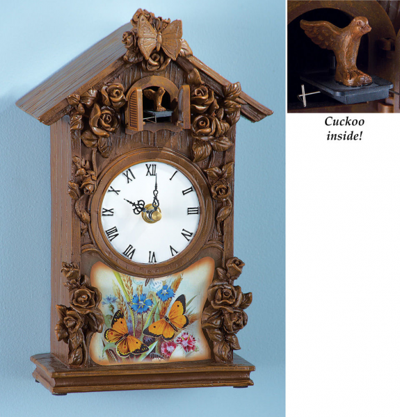 BEAUTIFUL BUTTERFLY FLORAL CUCKOO CLOCK WALL CLOCKS NEW