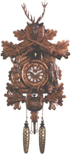 21in Hunting Style& Riffles & Animals German Black Forest Cuckoo Clock ...