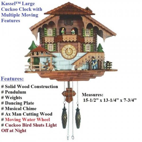 Kassel™ Large Cuckoo Clock with Multiple Moving Features Bird Shuts ...