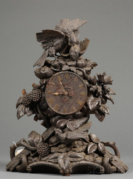 Carved Black Forest Mantel Clock, German and Frenc - Antique Clock ...