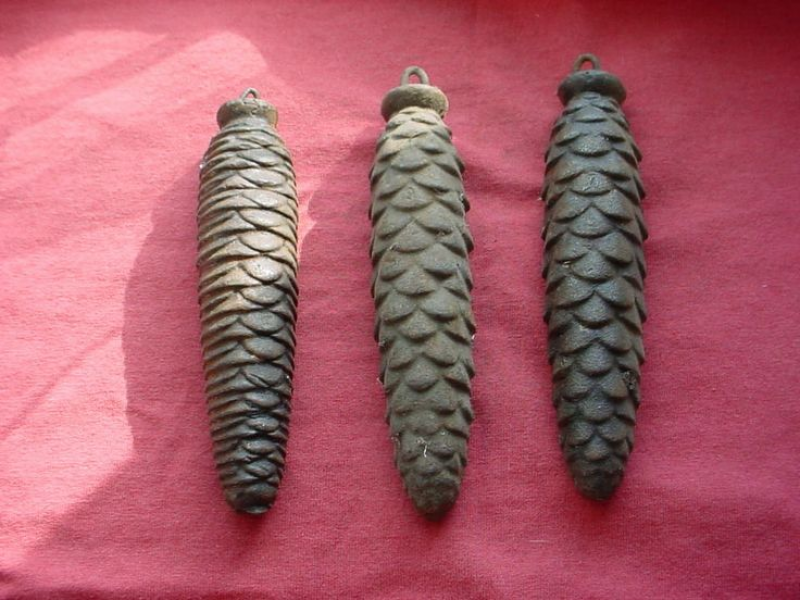 Antique Clock Weights Pine Cone 14 to 15 oz each Cuckoo Grandfather ...