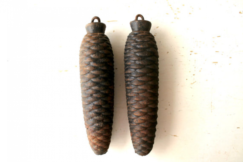 antique cuckoo clock weights pine cone shape by vintagearcheology