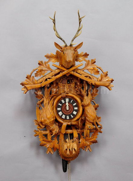 large vintage black forest carved cuckoo clock ca. 1960