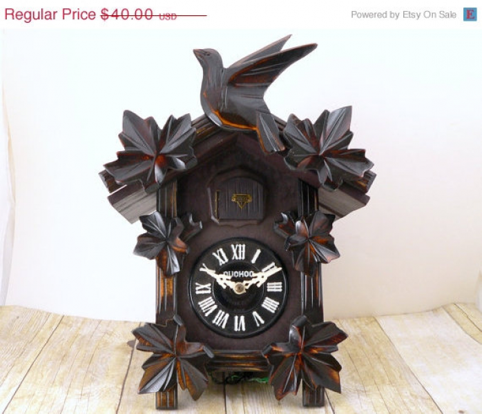 RESERVED Cuckoo clock - Mi-Ken Japan - Black Forest style - wood ...