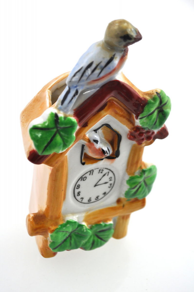 Vtg Japanese Style Cuckoo Clock Hand Painted Porcelain Lusterware