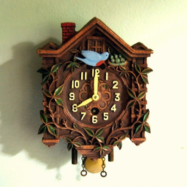 1930s Vintage Lux Pendulette Clock with Animated Bluebird