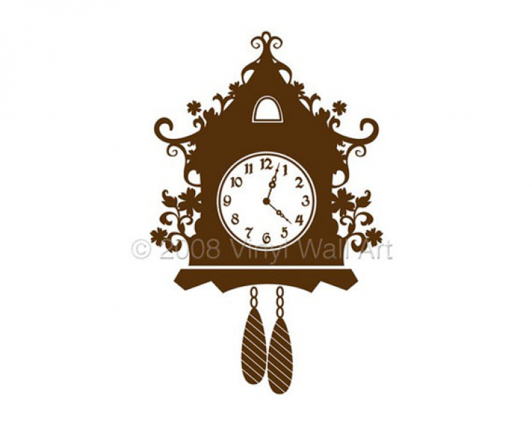 Cuckoo Clock Vinyl Decal size X-LARGE, Clock, Home decor, Office Decor ...