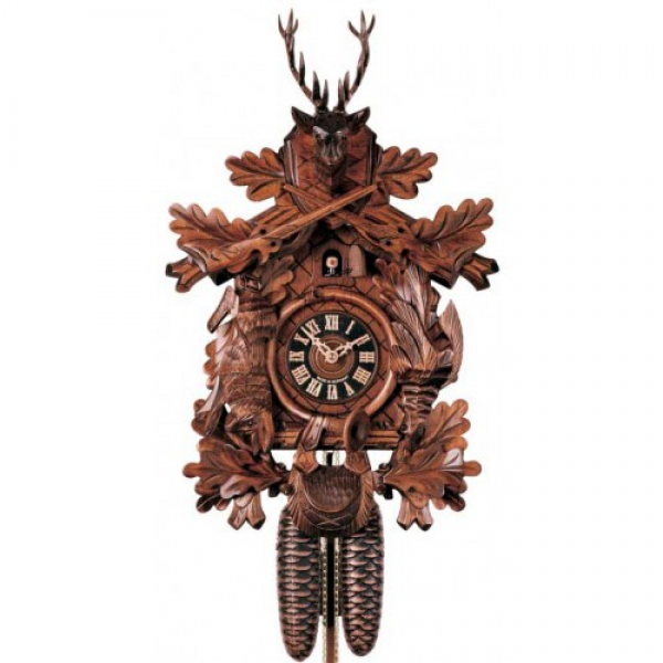 ... Carved Hunter - 8 Day Mechanical German Black Forest Cuckoo Clock