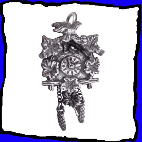 Black Forest Cuckoo Clock Charm Sterling Silver Large 3D Exceptionally ...