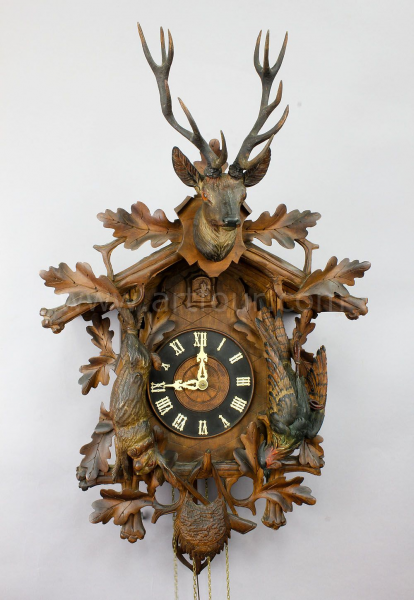 black forest clock, cuckoo clock and antler clock from the south of ...
