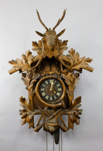 antique black forest carved wood cuckoo clock with stag