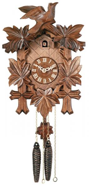 One Day Hand-Carved Cuckoo Clock with Hand-Painted Flowers, Five Maple ...