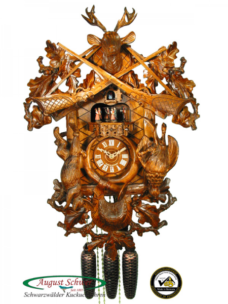 Details about Black Forest Cuckoo Clock 8-Day The Hunting Clock 24