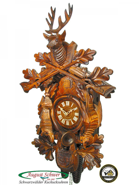 Details about Black Forest Cuckoo Clock 8-Day Hunting Clock 23 NEW