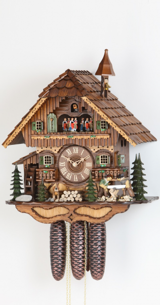 Day Musical Chalet with Moving Men Sawing Log Cuckoo Clock