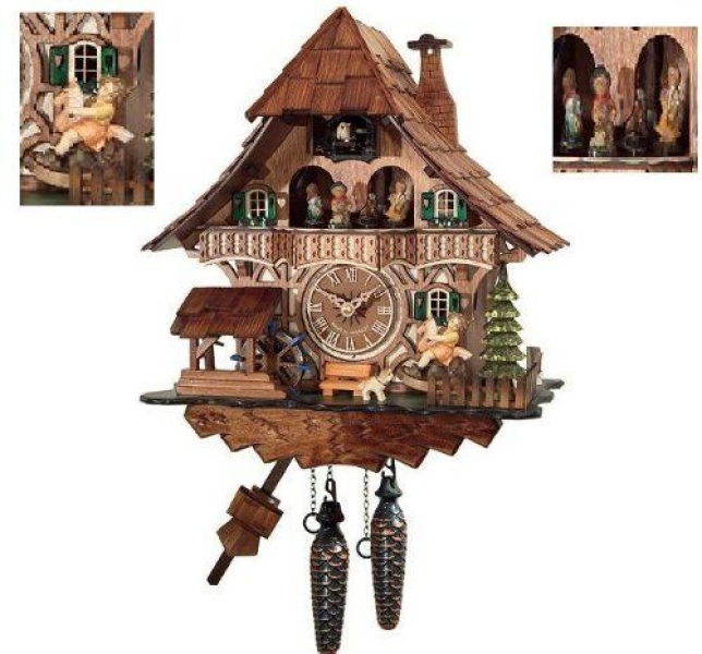 Traditional Cuckoo Clock Black Forest House with dancers [Kitchen ...