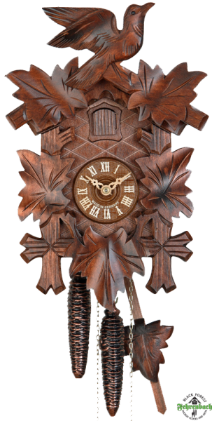 Home Cuckoo Clock - 1-Day Traditional with 5 Leaves & Bird - HEKAS