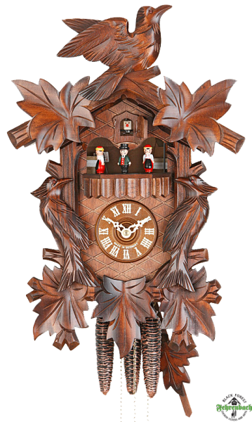 Home Cuckoo Clock - 1-Day Traditional with Carved Birds - HEKAS