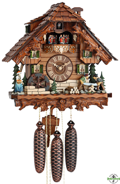 ... Cuckoo Clock - 8-Day with Moving Woodcutters & Water Wheel - HEKAS