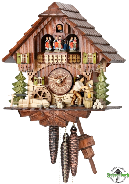 ... Cuckoo Clock - 1-Day with Moving Woodchopper & Water Wheel - HEKAS