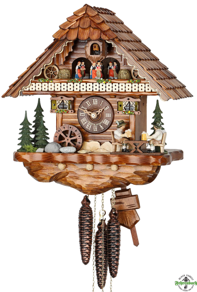 ... Cuckoo Clock - 1-Day with Moving Bier Drinkers & Mill Wheel - HEKAS