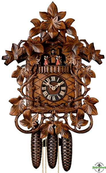 Cuckoo Clock - 8-Day Traditional with Ornate Leaf Carvings - HÖNES
