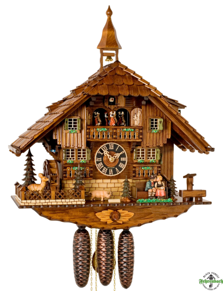 Cuckoo Clock - 8-Day Chalet with Man Sliding on Bench for Kiss ...