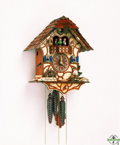 ... Cuckoo Clock - 1-Day Chalet With Woodchopper & Dancers - Schneider