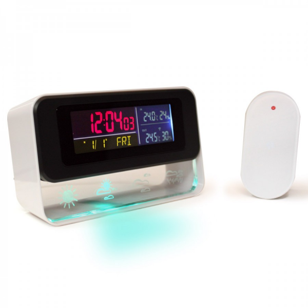 ENHANCE Ambient Weather Station and Digital Alarm Clock with Color LED ...