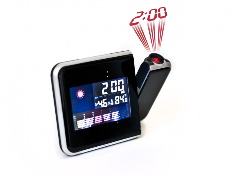 ... Digital Projection Clock Alarm Clock with LED Display Weather Station