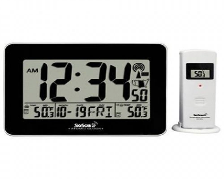 Skyscan Atomic Digital Clock with Indoor and Outdoor Temperature 88909 ...