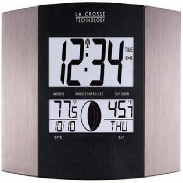 ... Atomic Wall Clock with Indoor/Outdoor Temperature - Home - Home Decor