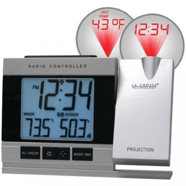 ... Atomic Projection Alarm Clock with Indoor & Outdoor Temperature - PTR