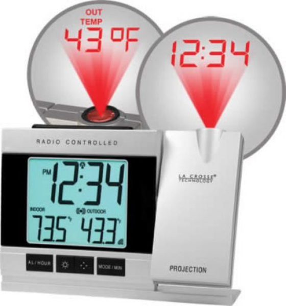 Technology WT-5220U-IT Projection Alarm Clock with IN/OUT Temperature ...