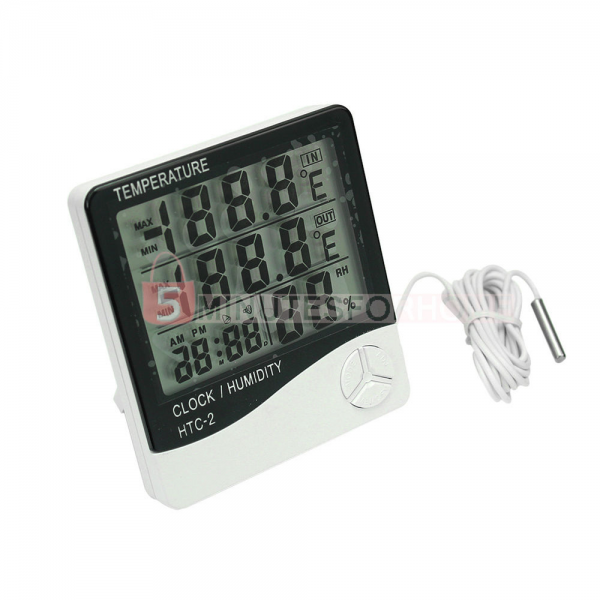 Indoor Outdoor Digital LCD Thermometer Hygrometer Clock Alarm with ...