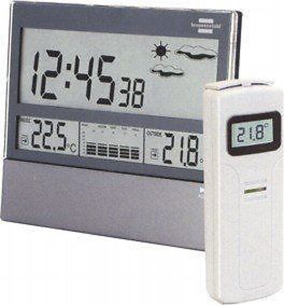... Satellite Weather Station Clock Alarm Thermometer Digital Humidity