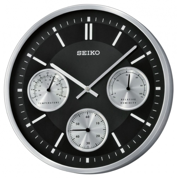 Black Aluminium Seiko Wall Clock with Thermometer & Hygrometer
